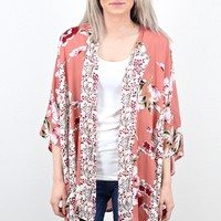Contrasting Florals Side Slit Kimono {Salmon} EXTENDED SIZES