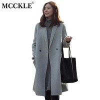 MCCKLE Women Autumn Winter Coats Jackets warm wool blends vintage solid Oversized  Winter Long Coat Manteau Femme