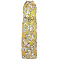 River Island Womens Yellow floral print waisted maxi dress