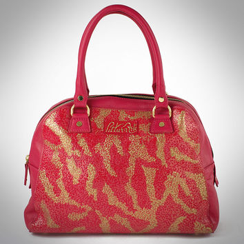 Red & Gold Leopard Print Bowling Satchel