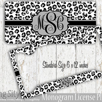 White Leopard Monogram License Plate Frame Holder Snow Cheetah Animal Print Pattern Personalized Custom Vanity