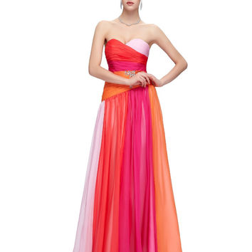 Plus Size Evening Dresses 2017 Gradient Ombre Red Blue Long Gown Elegant Strapless Evening Party Dress Robe de Soiree 6069