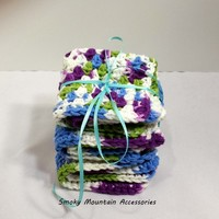 Set of three Crochet Dish Cloth in Purple Blue and Lime