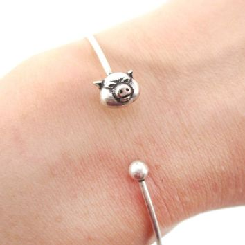 Minimal Piglet Pig Charm Bangle Bracelet Cuff in Silver | Animal Jewelry