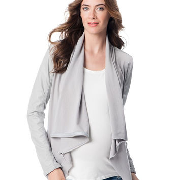 BLANK NYC Maternity Faux-Leather Drape-Front Jacket