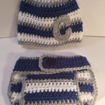 Striped Pattern Beanie w/ Monogram and matching Diaper Cover - Any Color & Up to 12 Months
