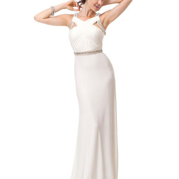 Colors 1168 Jersey Jeweled Wrap Top Prom Dress Evening Gown