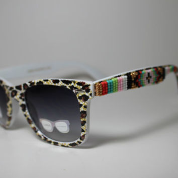 animal print tribal beaded sunglasses