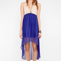 Color Blockbuster Maxi Dress in Blue and Nude :: tobi