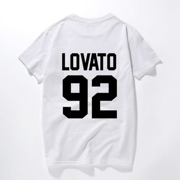 Demi Lovato T Shirt Lovato 92 back Letters Printing Fashion Men Women T-Shirt Casual 100% Cotton Funny Summer Tops Tee Tshirt