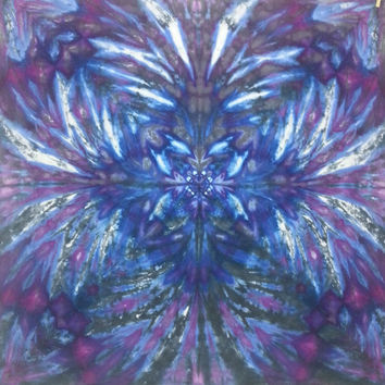 tie dye tapestry or wall hanging in blue and purple