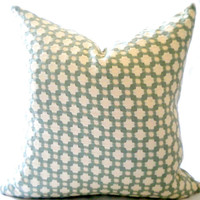 "Decorative pillow cover, Luxury fabric Betwixt water and Ivory, green 18"" pillow cover"