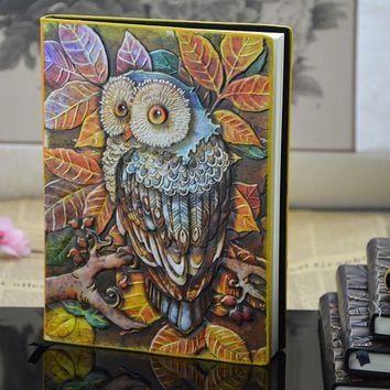 European Vintage Thick Notebook Diary Book Hardcover Owl Stationery Office Material School Supplies 14.5*21.5cm