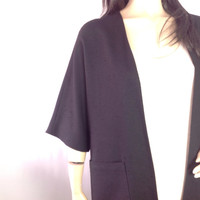 70s Minimalist Coat Black Duster Kimono Sleeve Coat Linen Like Nubby Texture Vintage Dress Coat s small m medium  39 bust