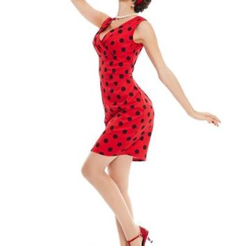 Red Polka Dots Sleeveless Women's Bodycon Dress