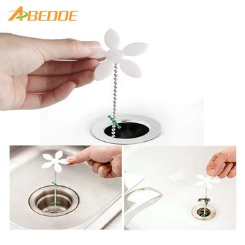 ABEDOE 2Pcs Shower Drain Hair Catcher Stopper Clog Sink Strainer Bathroom Accessories Sewer Drain Cleaning Filter Strap Hook