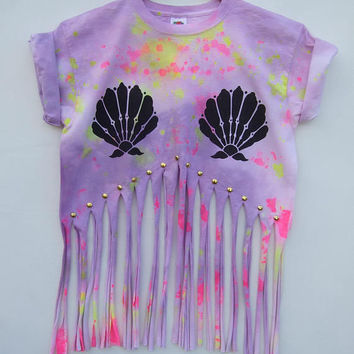 Mermaid Seashell Fringe Shirt With Studs - Pastel Goth Fashion - Kawaii Tumblr Tassel Crop Top - Size Small Only
