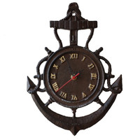 Rustic Cast Iron Vintage Anchor Clock 12""