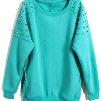 ROMWE | Stud Pocket Green Pullover, The Latest Street Fashion