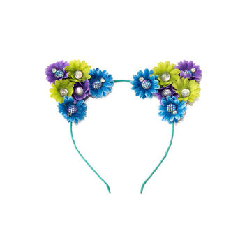 Mermaid Cat Ear Headband, Floral Cat Ears, Kitty Ears Headband, Flower Headband, Mermaid Crown, Cat Costume, Rave Wear, Rave Costume