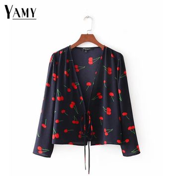 2018 summer blusas womens tops and blouses women shirts long sleeve cherry kimono korean fashion clothing ladies tops