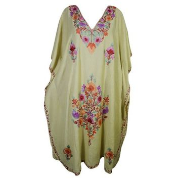 Mogul Women's Beige Red Kaftan Kimono Sleeves Beautiful Floral Embroidered Evening Resort Wear Stylish Lounge Maxi Caftan Dresses 4XL - Walmart.com