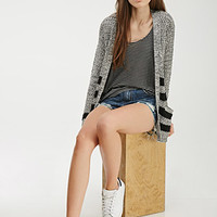 Striped Marled Knit Cardigan