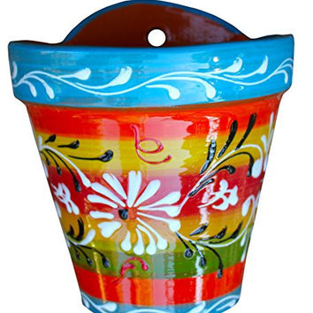 Wall Hanging Flower Pot (Spanish Rainbow) - Hand Painted in Spain