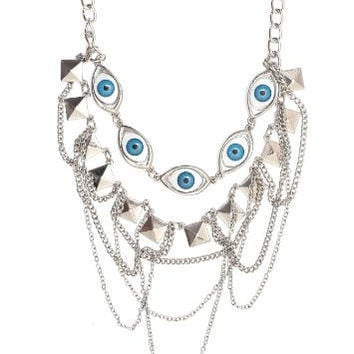 Eyeball Collar Necklace Eye Pyramid Studs Chains Bib Silver Tone NM31 Statement Choker Fashion Jewelry
