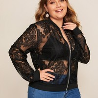 Plus Size Guipure Lace Sheer Bomber Jacket