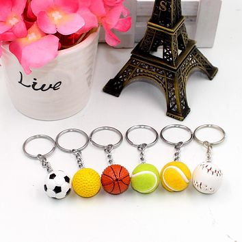 Basketball Soccer Volleyball Tennis Keychain keychain key ring pendant creative birthday gift toy Kids collection Model Figure