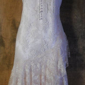 Cream lace dress vintage wedding bride  romantic medium by vintage opulence on Etsy
