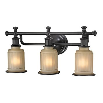 Acadia 3-Light Vanity Lamp in Oiled Bronze with Opal Reeded Pressed Glass