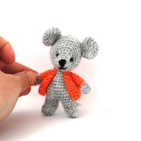 miniature mouse, stuffed mouse, tiny mouse, little mice animal doll, amigurumi mouse grey orange, crochet tiny mouse
