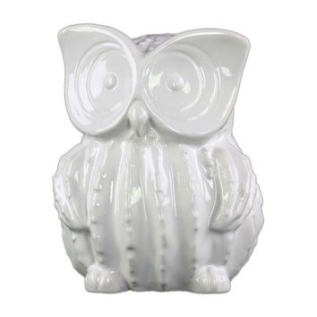 Ceramic Gloss Finish White Standing Owl Figurine