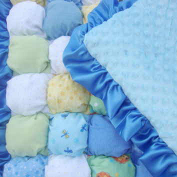 Baby Puff Quilt / Activity Mat - Blue Flannel with Animals