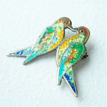 Vintage Enamel Bird Brooch,Love Bird Brooch,Kissing Birds Brooch,Lovebirds,Taxco Mexico,Sterling Silver Enamel,Enamel Silver,Bird Brooch