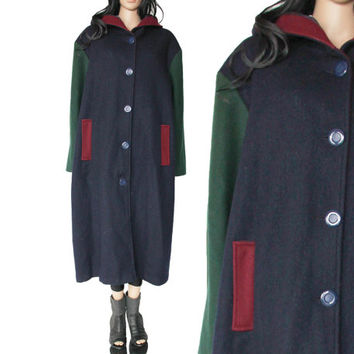 Hooded Wool Color Block Coat Navy Blue Forest Green Maroon 80s 90s Winter Hip Hp Hipster Clothing Union Made in the USA Unisex XL 2X