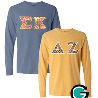 CUSTOM Combo Comfort Colors Long Sleeve T-Shirts with Greek (Sorority or Fraternity) Letters