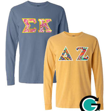 Custom combo comfort colors long sleeve from gonegreeketsy on for Custom greek letter t shirts