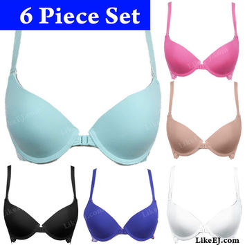 Lots of 6 Solid front close coverage bra lace overlayed band for support Bra #8973