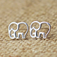 Unique Hollow Out Elephant Earring &Stud