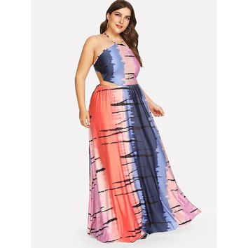 Plus Size Multicolor Tie Dye Cut Out Halter Dress