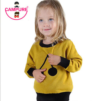 Campure 100%Cotton Black Yellow Sweater  Cherry Pattern Children Warm Tops Kids Boys and Girls Long Sleeve Pullovers Sweater