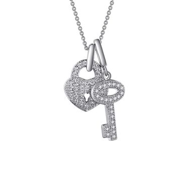Lafonn Classic Sterling Silver Platinum Plated Lassire Simulated Diamond Necklace (0.46 CTTW)