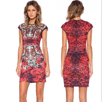 Flora Print Bodycon Dress