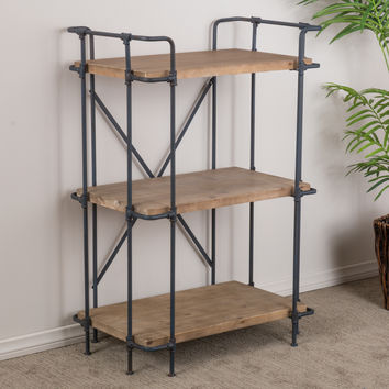 SOHO Industrial Wood & Metal 3-Shelf Bookcase
