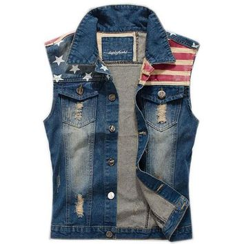 Day-First™ Men's Comfortable Slim Fit American Flag Demin Jacket Sleeveless Vest