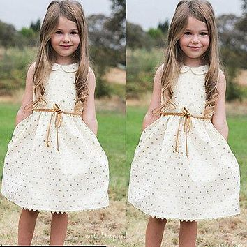 SUMMER NEW children clothes girls beautiful dress quality white baby girls dress teenager kids dress for age