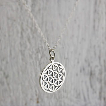Flower of Life Necklace - Sterling Silver Flower of Life Necklace - Flower of Life Charm - Spiritual Jewelry - Yoga Necklace Sacred Geometry